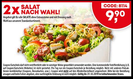 Coupon - 2x Salat nach Wahl