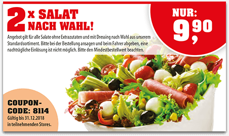 Coupon - 2x Salat nach Wahl
